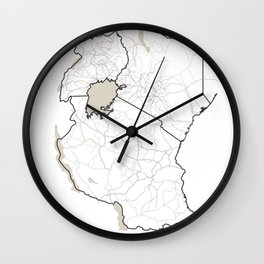 East Africa Map - Roads, Rivers, Lakes Wall Clock