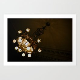 Circular Gold Illuminated Orb Hanging Chandelier Print Art Print