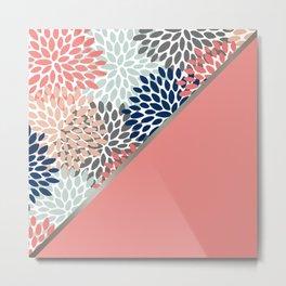 Floral, Color Blocks Art, Coral, Aqua, Gray and Navy, Colourful Prints Metal Print