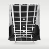 bass Shower Curtains featuring bass guitar by Falko Follert Art-FF77