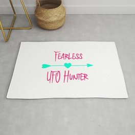Fearless UFO Hunter Fun Alien Space Quote Rug