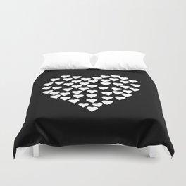 Hearts on Heart White on Black Duvet Cover