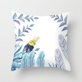 Cockatiel with tropical foliage Throw Pillow