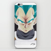 vegeta iPhone & iPod Skins featuring Vegeta Portrait Painting by ADCArtAttack