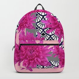 GREY ART DECO FUCHSIA CHRYSANTHEMUM FLORAL Backpack