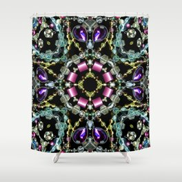 Bling Jewel Kaleidoscope Scanography Shower Curtain