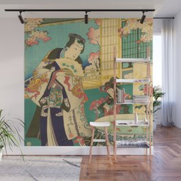 Spring Outing In A Villa Diptych #1 by Toyohara Kunichika Wall Mural