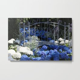 Blue Hydrangea Stream Metal Print