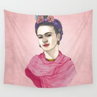 frida kahlo Wall Tapestries featuring Frida Kahlo by Barruf