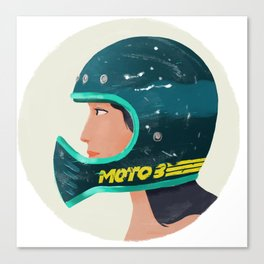 Girl on Moto 3 Helmet Canvas Print