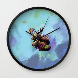 Colorful Moose Wall Clock