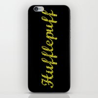 hufflepuff iPhone & iPod Skins featuring One word - Hufflepuff by husavendaczek