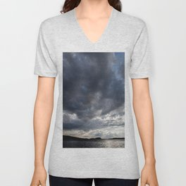 Dark Clouds Coming Over Lake In Scandinavia #decor #society6 #buyart Unisex V-Neck