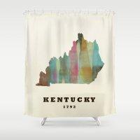 kentucky Shower Curtains featuring Kentucky state map modern by bri.buckley