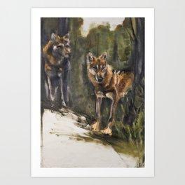 Totem Red Wolf Art Print