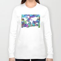 map of the world Long Sleeve T-shirts featuring world map by Bekim ART