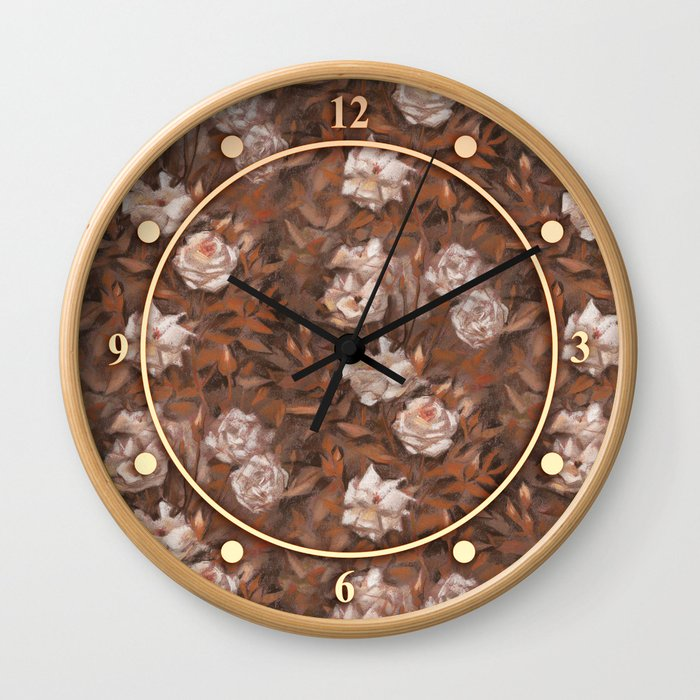 White roses in earth shades Wall Clock