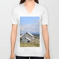 vermont V-neck T-shirts featuring Vermont Barn by Ashley Callan