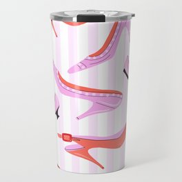 Pink Stiped Shoe And High Heel Pattern Travel Mug