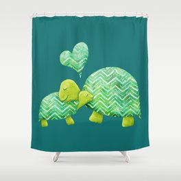 Sweet Turtle Hugs with Heart in Teal and Lime Green Shower Curtain
