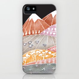 Tatry mountains, sheep watercolor landscape nature iPhone Case