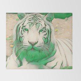 Green Tiger Throw Blanket