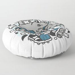 Rhino Footballfor animated characters comics and pop culture lovers Floor Pillow