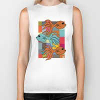 mid century Biker Tanks featuring One Fish, Two Fish, Orange Fish, Blue Fish - on Mid Century Modern Background by Taken Literally