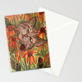 Cat In The Flowers Stationery Cards