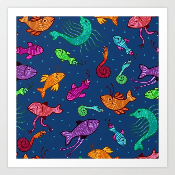 extraordinary sea creatures Art Print