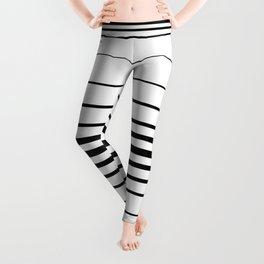 Clean Simple Minimal Stripes (black on white) Leggings