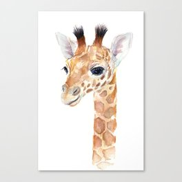 Baby Giraffe Cute Animal Watercolor Canvas Print