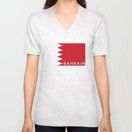 bahrain country flag name text Unisex V-Neck