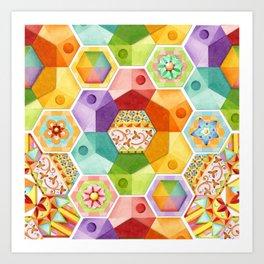 Circus Rainbow Hexagons Art Print