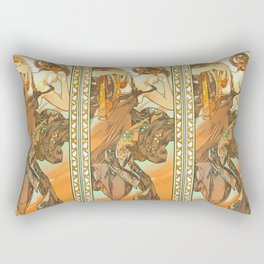 "Alphonse Mucha ""The Moon and the Stars Series: The Evening Star"" Rectangular Pillow"
