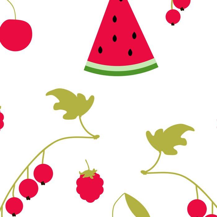 Seamless pattern watermelon cherry raspberry currant background Leggings