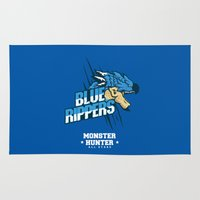 monster hunter Area & Throw Rugs featuring Monster Hunter All Stars - Blue Rippers by Bleached ink