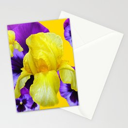 PURPLE PANSIES & YELLOW IRIS MONTAGE Stationery Cards