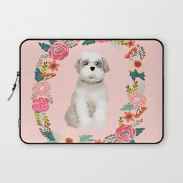 shih tzu floral wreath dog breed pure breed pet portrait Laptop Sleeve