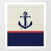 navy Art Prints featuring Navy by Vickn