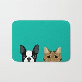 Boston Terrier & Tabby Bath Mat