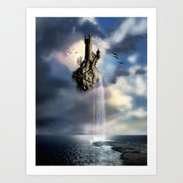 Surreal Castle Waterfall Art Print