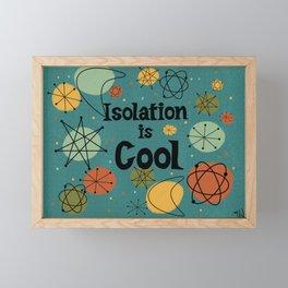 Isolation is Cool Mid-century Modern, Blue Cosmic Design Framed Mini Art Print