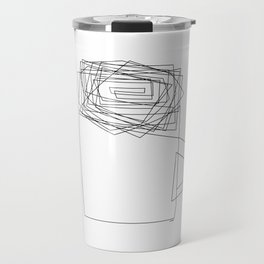Coffee Illustration Black and White Drawing One Line Art Travel Mug