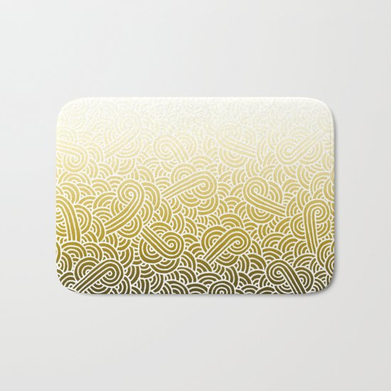 Ombre yellow and white swirls doodles Bath Mat