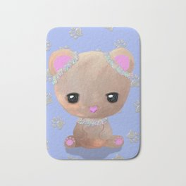 Beautiful Baby Bear - Pastel Flowers (Blue) Bath Mat
