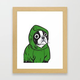Boston Terrier Green Hoodie Framed Art Print