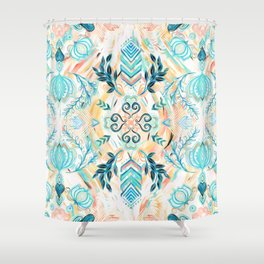 Abstract Painted Boho Pattern in Cyan & Teal Shower Curtain