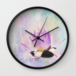 Painted Water Lily Wall Clock