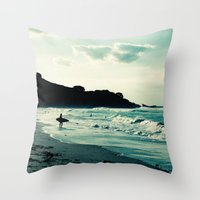 surf Throw Pillows featuring Surf by Hilary Upton